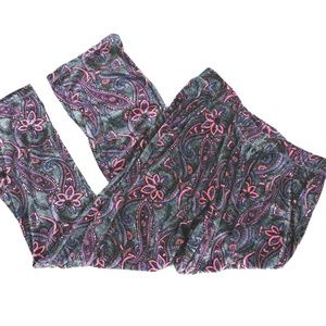 Climate Right Cuddl Duds Velour Pants Paisley M